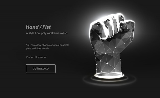 Fist low poly wireframe art. hand gesture of power. polygonal illustration with connected dots and polygon lines. Premium Vector