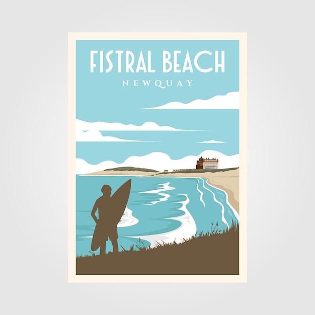 Fistral beach surf vintage poster Premium Vector