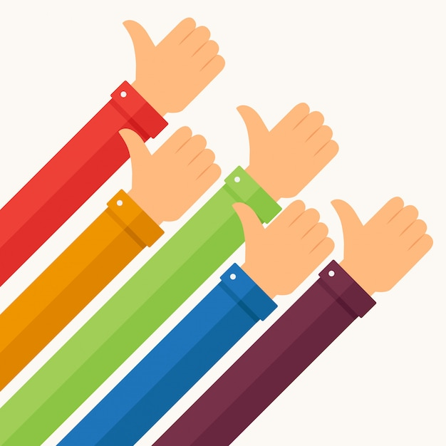 Fists up with sleeves in various colors Premium Vector