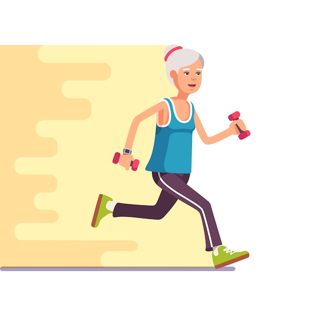 Fit elderly woman jogging with dumbbells Free Vector