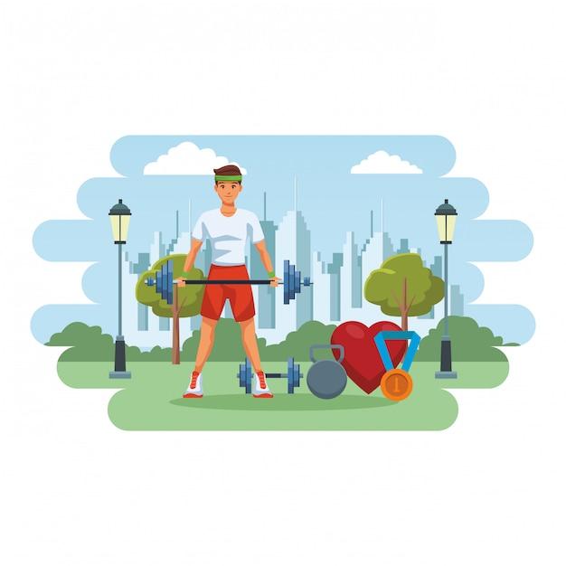 Fit man doing exercise Premium Vector