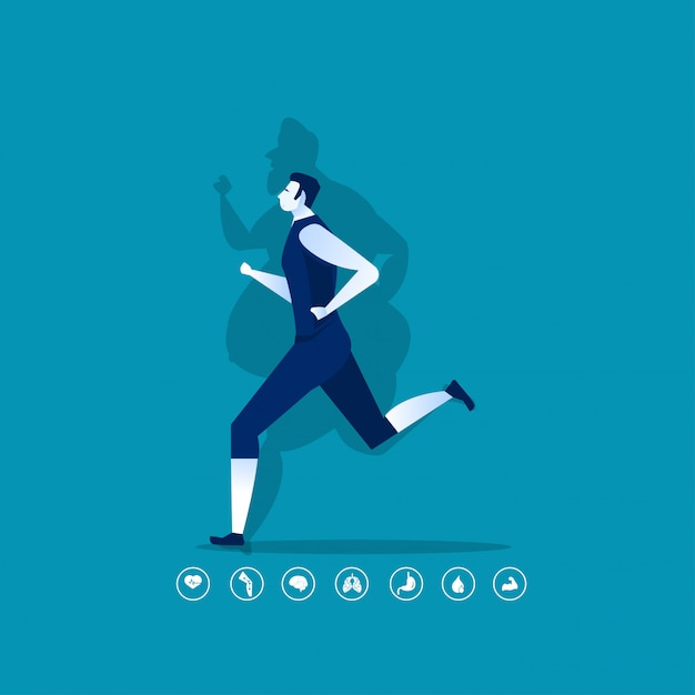 Fit man doing sport with fat shadow Premium Vector
