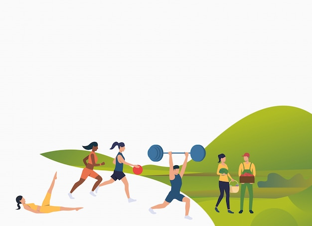 Fit people doing exercises outdoors Free Vector