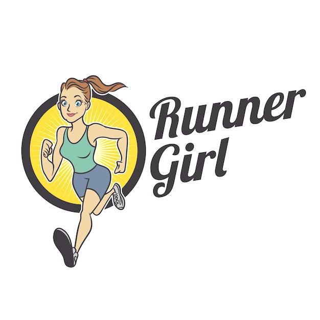 Fit runner girl талисман логотип Premium векторы