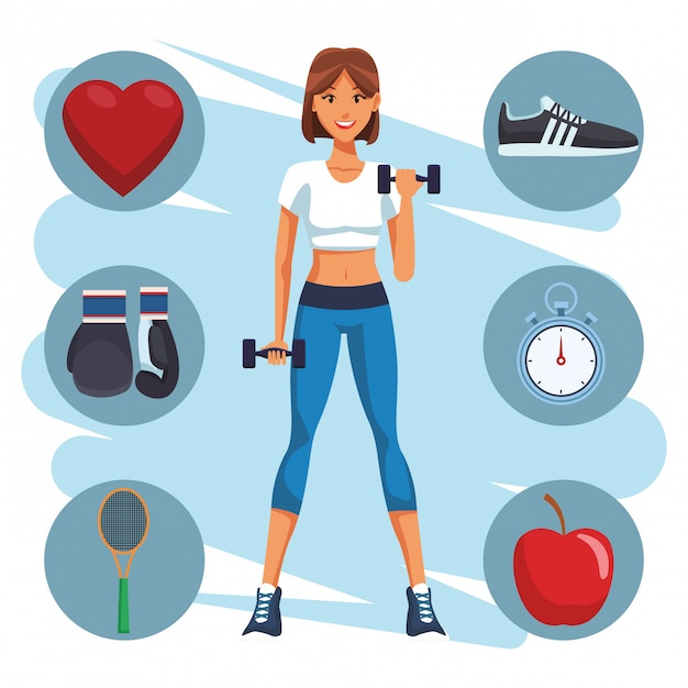 Fit woman doing exercise Premium Vector
