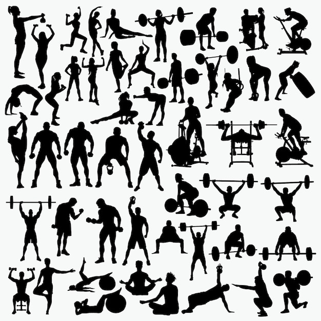 Fitness 1 silhouettes Premium Vector