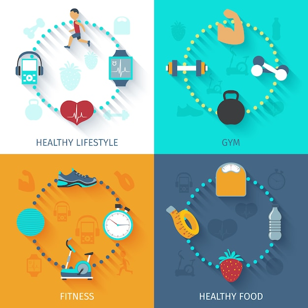 Fitness 4 flat icons square banner Free Vector