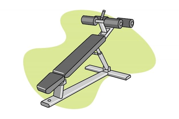 Fitness ab bench cartoon illustration Premium Vector