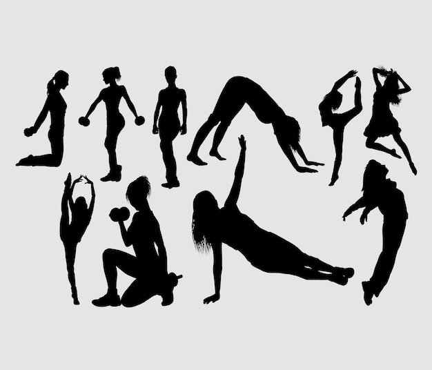 Fitness and aerobic dance attractive girl sport silhouette Premium Vector