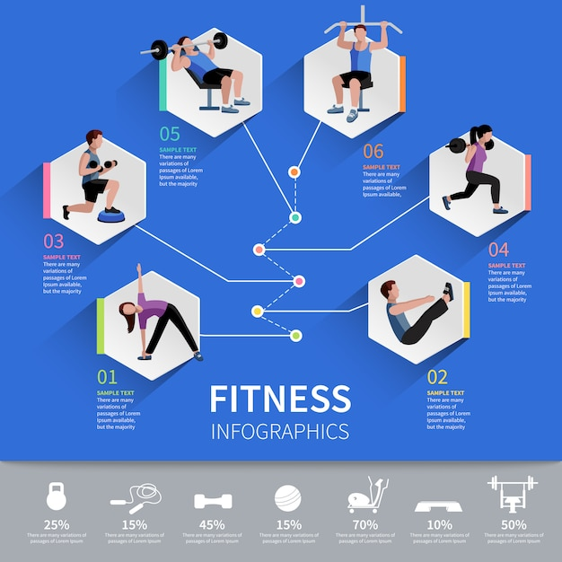 Fitness aerobic and muscle strength development program hexagon pictograms Free Vector