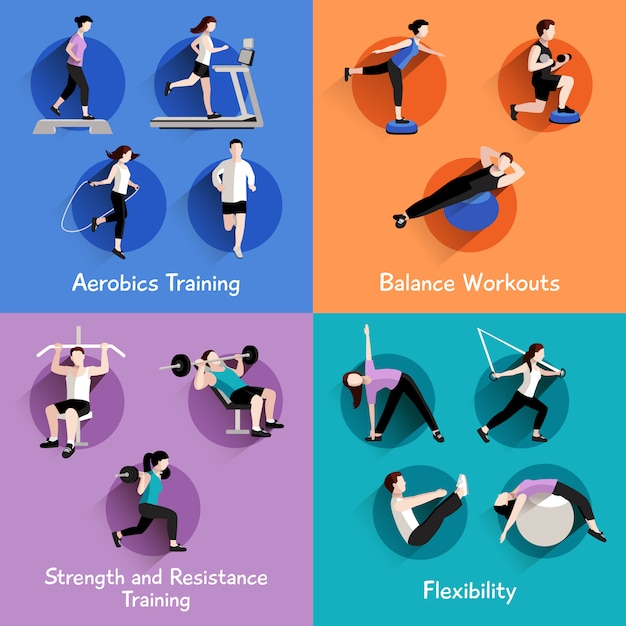 Fitness aerobic strength and body shaping exercises 4 flat icons Free Vector