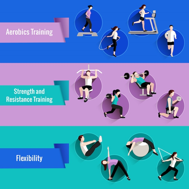Fitness aerobics strength and resistance training for men and women flat banners set Free Vector