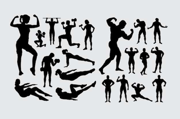 Fitness And Body Building Male Female People Sport Silhouette Premium Vector