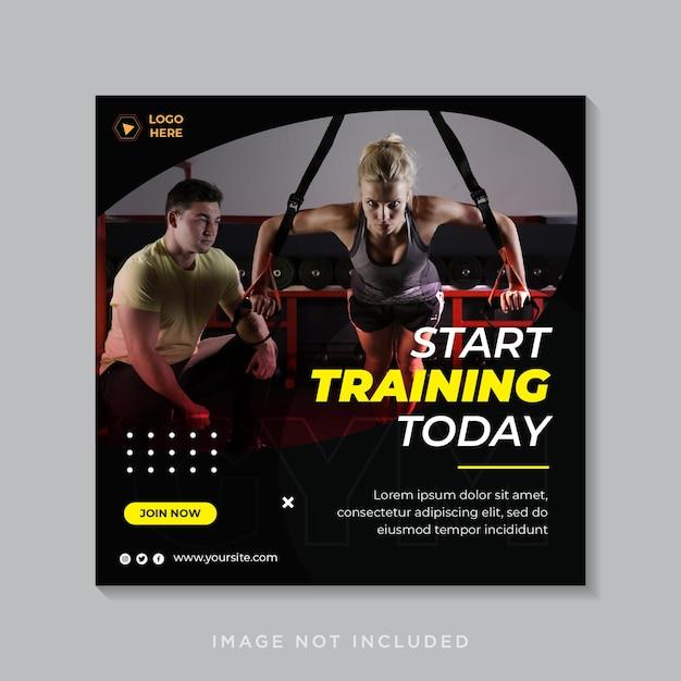 피트니스 및 체육관 운동 소셜 미디어 Instagram 게시물 또는 정사각형 전단지 프리미엄 벡터