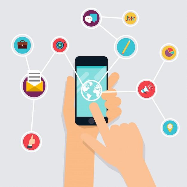 Концепция приложения фитнес на сенсорном экране. мобильный телефон и трекер на запястье. иконки для веб: фитнес, здоровое питание и метрики. плоский стиль Premium векторы