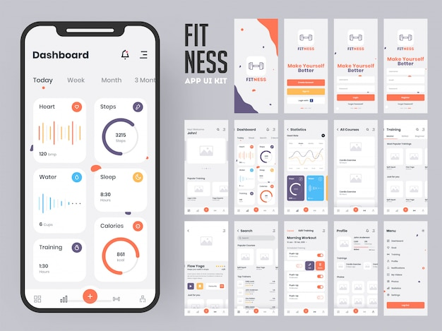 Fitness app. Premium Vector