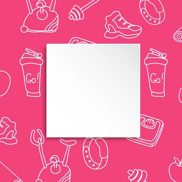 피트 니스 배경 손으로 그려진 된 체육관 및 3d 종이 접시. 건강한 운동과 운동을위한 낙서 요소 프리미엄 벡터
