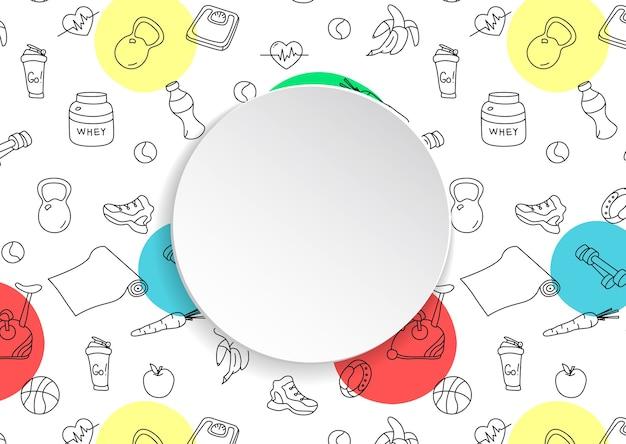 손으로 그린 된 체육관 및 3d 종이 접시와 함께 피트 니스 배경. 건강한 운동과 운동을위한 낙서 요소 프리미엄 벡터