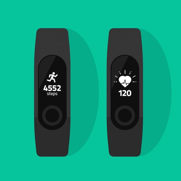 Fitness band or wristband run tracker vector flat cartoon Premium Vector