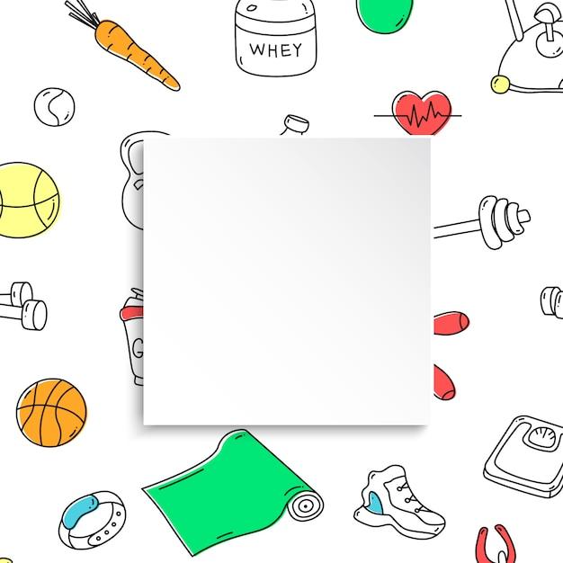 손으로 그린 체육관 패턴 및 3d 종이 접시와 함께 피트 니스 배너. 건강한 운동과 운동을위한 낙서 아이콘. 스포츠 라이프 스타일 라인 아트. 판매, 특별 행사, 전단지 및 광고를위한 세련된 피트니스 배너입니다. 프리미엄 벡터