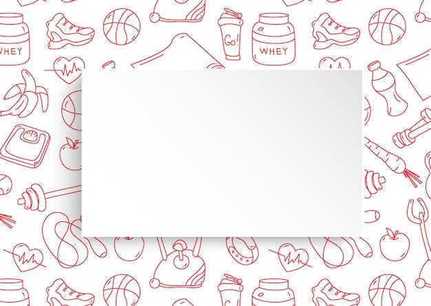 손으로 그린 된 체육관 패턴 및 3d 종이 접시와 함께 피트 니스 배너. 프리미엄 벡터