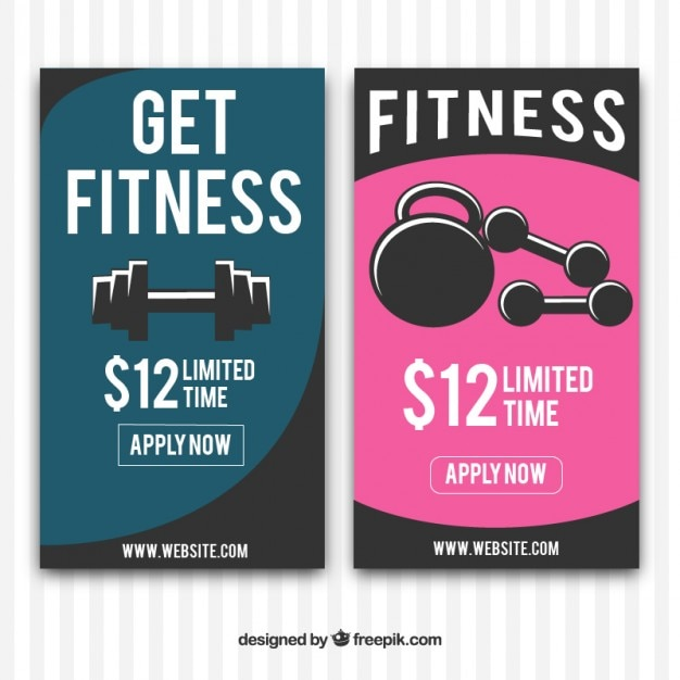 Fitness banners with weights Free Vector