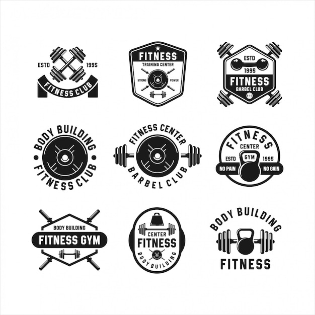 Fitness barbel gym logos collections Premium Vector