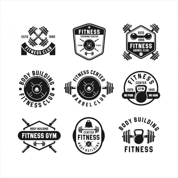 Fitness barbel gym логотипы коллекции Premium векторы