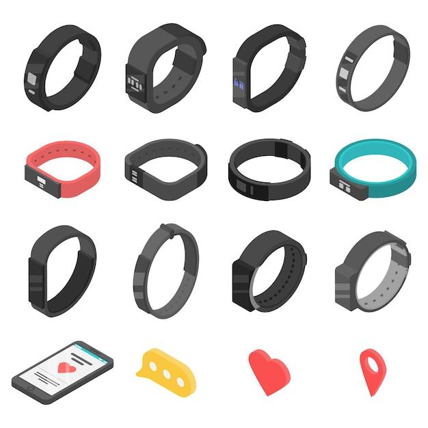 Набор иконок фитнес-браслет, изометрический стиль Premium векторы