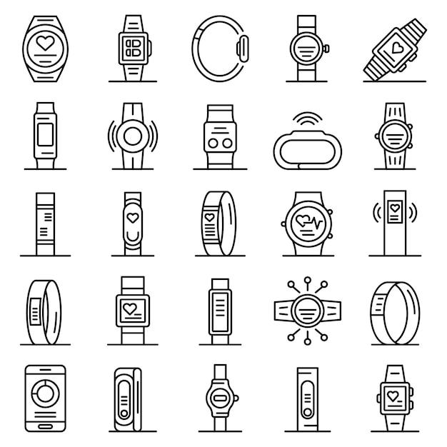 Fitness bracelet icons set, outline style Premium Vector