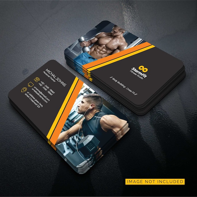 Fitness business card template Premium Vector