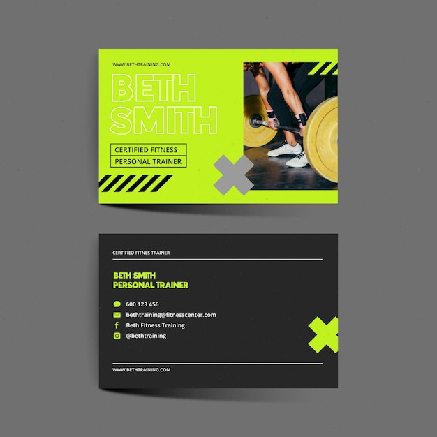 Fitness center business card Premium Vector