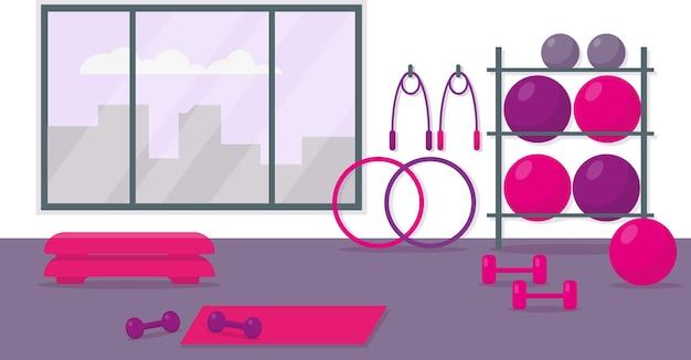 여성 훈련을위한 피트니스 센터. 운동 장비와 체육관 인테리어. 프리미엄 벡터
