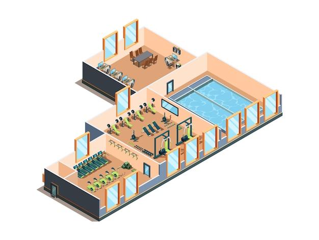 피트니스 센터. 장비 심장 운동 에어로빅 훈련 스파 살롱 체육관 클럽 및 수영장 인테리어 룸 프리미엄 벡터
