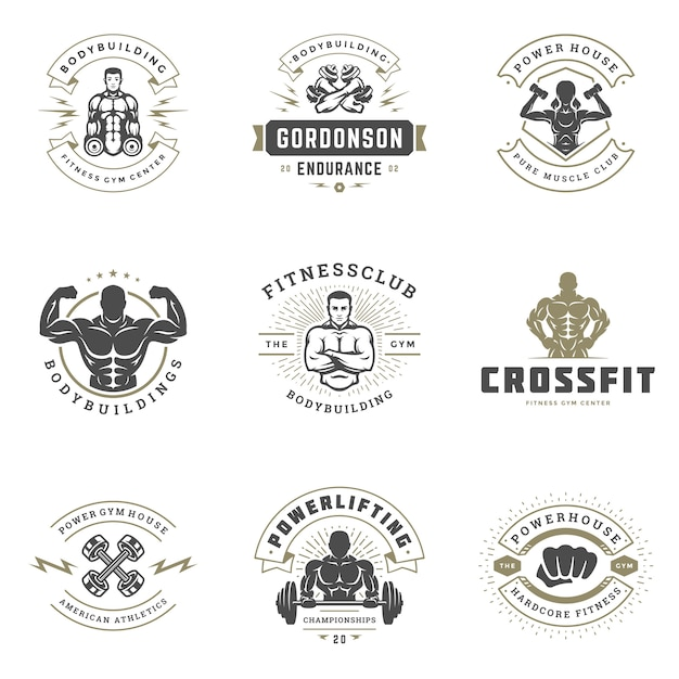 Fitness center and sport gym logos and badges design set vector illustration. Premium Vector