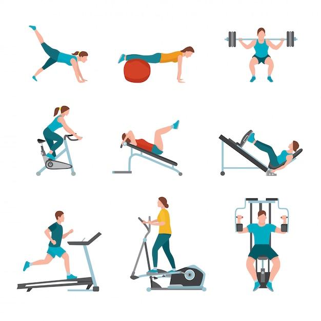 피트니스 클럽은 일러스트레이션, 현대 체육관 트레이너, 남성, 여성 캐릭터 운동, 스포츠 장비 및 기계를 사용하여 운동하는 사람들, 건강한 라이프 스타일을 행사합니다. 프리미엄 벡터