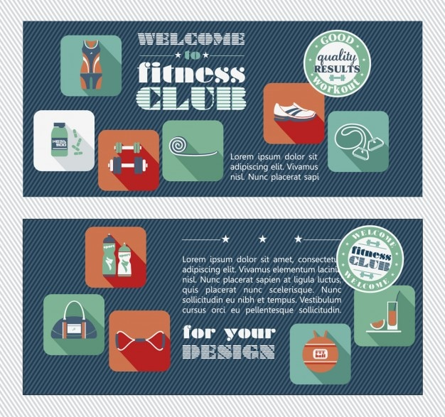 Fitness club flyer in flat design style Free Vector