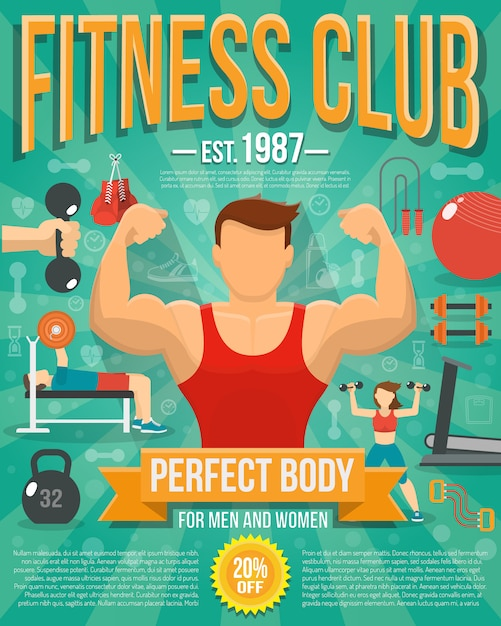 Fitness club poster with sport equipment and\ people doing workouts