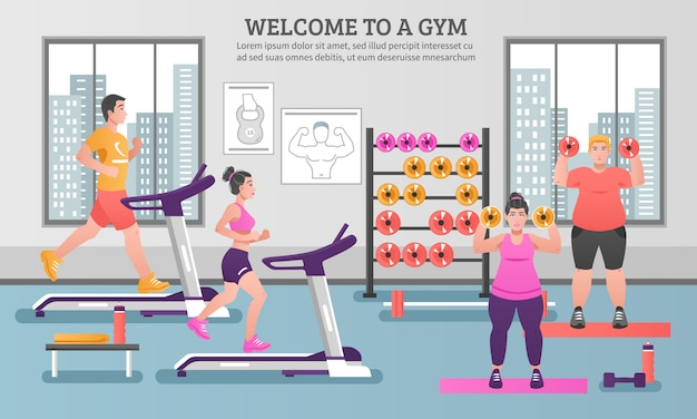 Fitness colored composition Free Vector