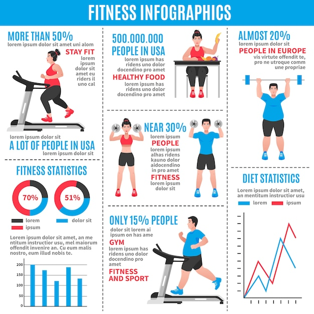 Fitness colored infographics Free Vector