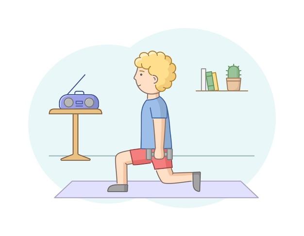 피트니스 개념, 건강 관리 및 활동적인 스포츠. 남성 캐릭터가 체육관이나 집에서 음악과 함께 운동하고 있습니다. 젊은 남자는 아령으로 강도 훈련을합니다. 선형 개요 플랫 스타일. 벡터 일러스트 레이 션. 프리미엄 벡터