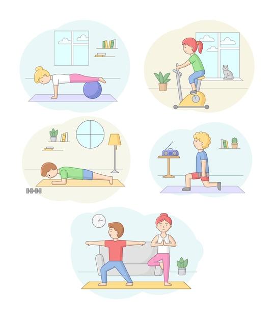 피트니스 개념, 건강 관리 및 활동적인 스포츠. 아령 및 스포츠 장비와 체육관이나 집에서 운동하는 문자 집합입니다. 사람들은 아침 운동을합니다. 선형 개요 평면 벡터 일러스트 레이 션. 프리미엄 벡터