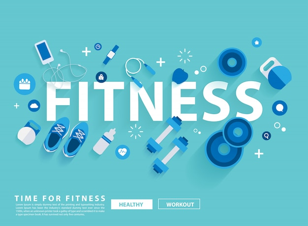Fitness concept workout with equipment. vector illustration Premium Vector