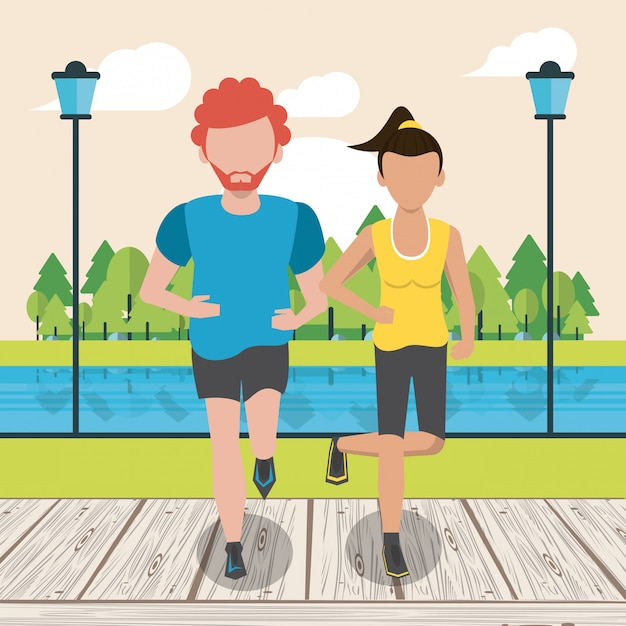 Fitness couple running Premium Vector