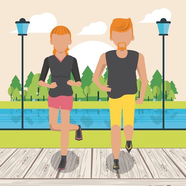 Fitness couple running Premium Vector