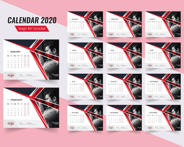 Fitness desk calendar template 2020 Premium Vector