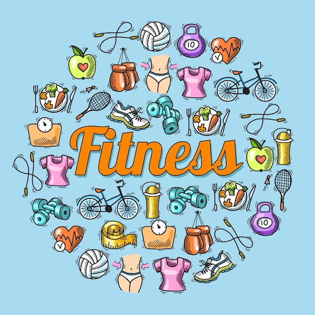 Fitness diet trainer exercise colored sketch\ hand drawn concept vector illustration