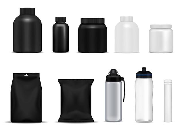 Le bottiglie della bevanda di forma fisica mettono in mostra l'insieme realistico di plastica del metallo bianco nero dei pacchetti dei contenitori della proteina isolato Vettore gratuito