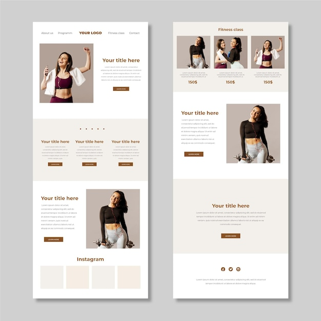 Fitness email newsletter template Free Vector