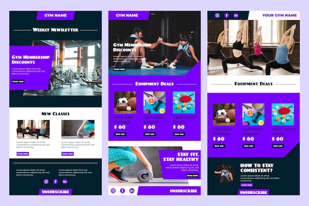 Fitness email template collection Free Vector